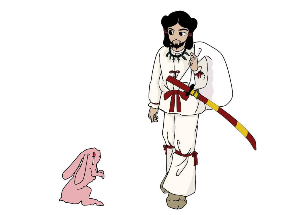 オオクニヌシノミコトと白兎のイラスト画像