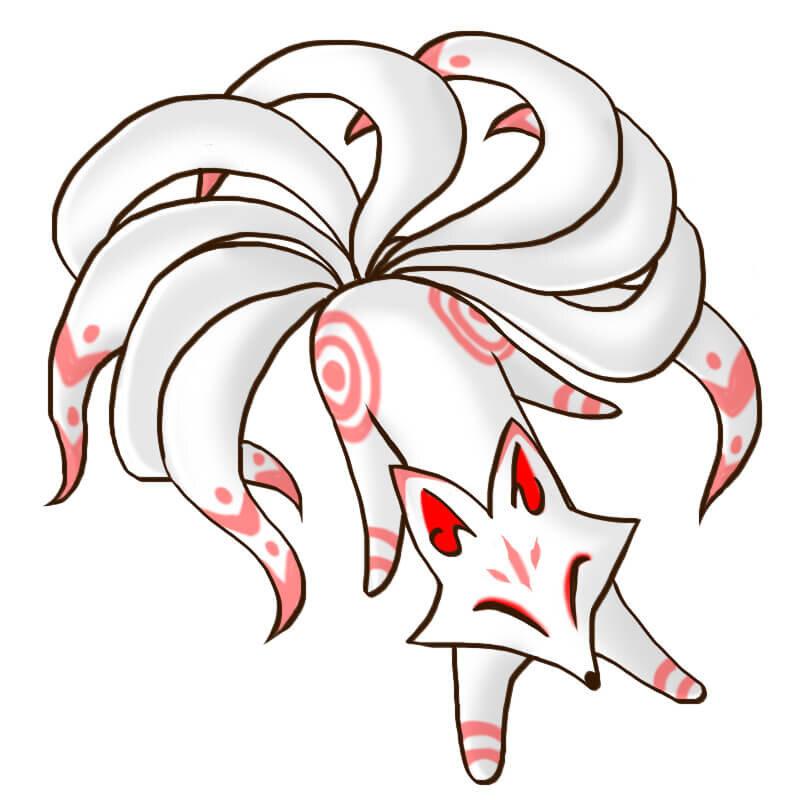 九尾の狐のイラスト画像
